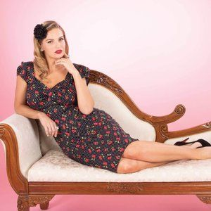 Pinup Dress with Cherries Vintage Inspired